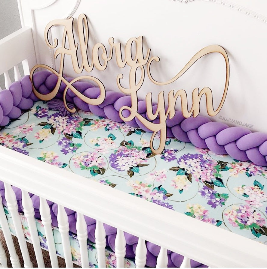 Lilac | Braided Crib Bumper / Bed Bolster - See more Braided Crib Bumpers & Cushions at JujuAndJake.com