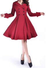 Red Retro Buttoned Front Corseted Back Swing Coat (Available in sizes Small, 14, 18 Plus & 20 Plus)