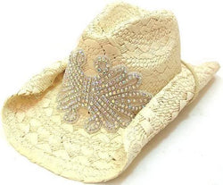 Olive & Pique Natural Cream Rhinestone Iridescent Cowboy Cowgirl Hat Crushable Formable