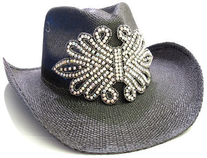 Olive & Pique Black Rhinestone Iridescent Cowboy Cowgirl Hat Formable