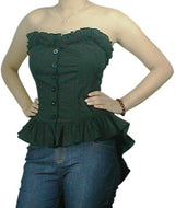Black Gothica Lolita Corseted Ruffled Strapless Top (Available in size Small only)