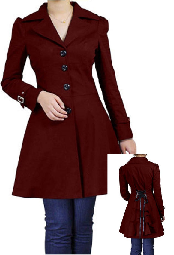 Burgundy Ruffled Adjustable Corseted Back Button Front Coat (Available in Size 20 Plus only)