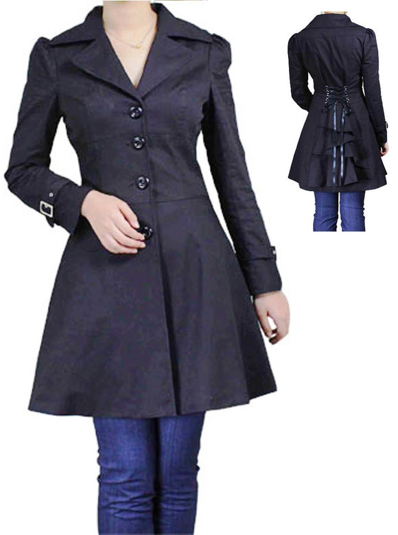Black Button Jacket Ruffle Ruffled Back Cotton Plus Size Corseted Gothic Steampunk Punk coat