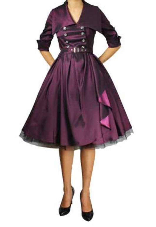 Purple Rockabilly Belted Double Breasted Full Skirt Swing Dress Retro Gothic Vintage 50s Pinup Plus Size