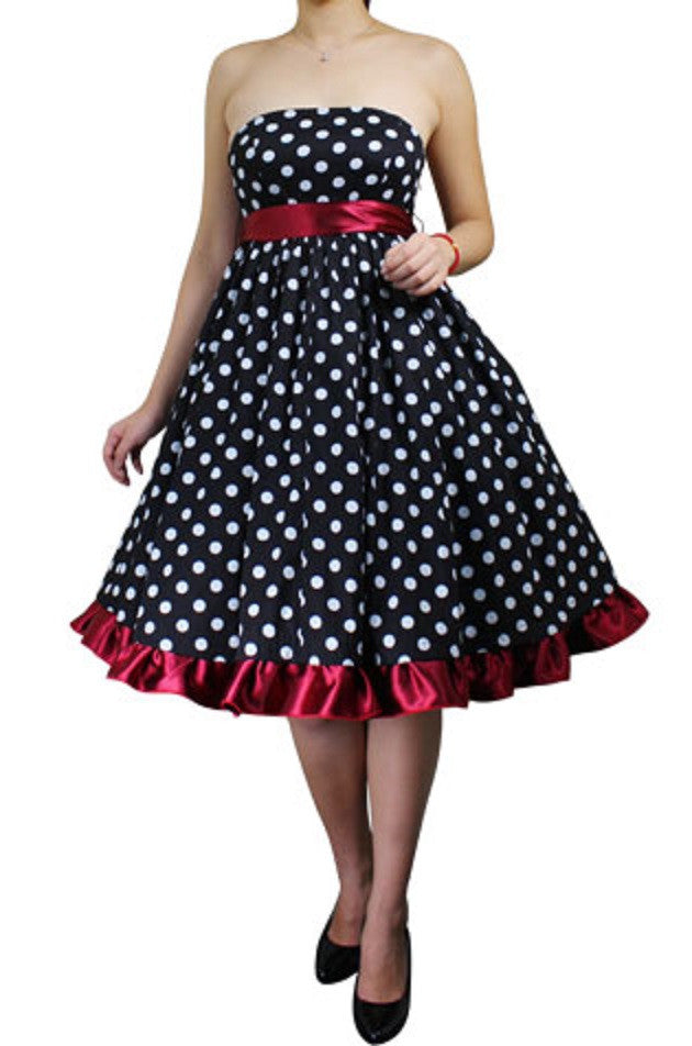 7bdaeb29875c Black White Red Polka Dot Strapless Full Skirt Swing Dress Retro 50s  Classic Vintage Pinup Plus ...