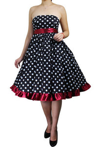 Black White Red Polka Dot Strapless Full Skirt Swing Dress Retro 50s Classic Vintage Pinup Plus Size Dress