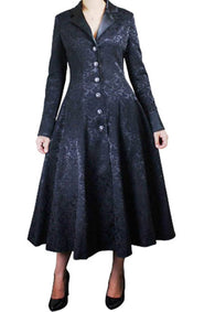 Long Black Jacquard Button Lined Coat Plus