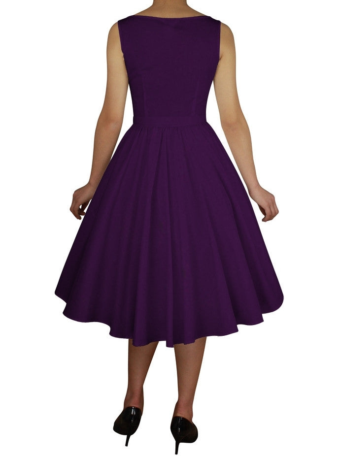 8fd666859e84 ... Purple Cotton Belted Classic Full Skirt Swing Dress (Available in sizes  Large