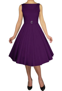 Purple Cotton Sleeveless Belted Classic Full Skirt Swing Dress Retro 50s Pinup Vintage Plus Size