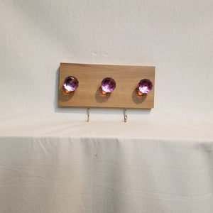Jewlery Accessory Organizer Rack Hooks Knobs Wood Wall Hanging Kitchen Bathroom Bedroom Home Decor Pink