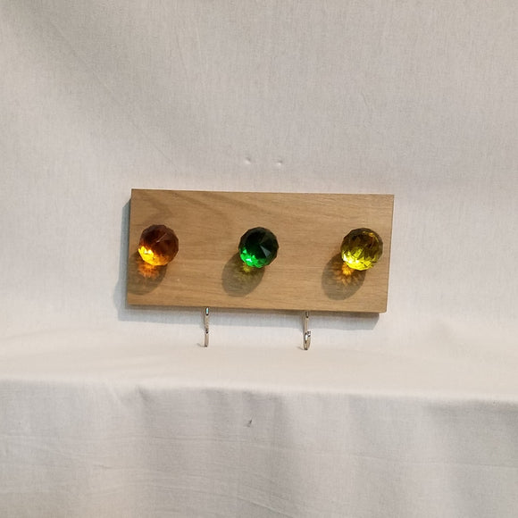 Jewlery Accessory Organizer Rack Hooks Knobs Wood Wall Hanging Kitchen Bathroom Bedroom Home Decor green yellow orange