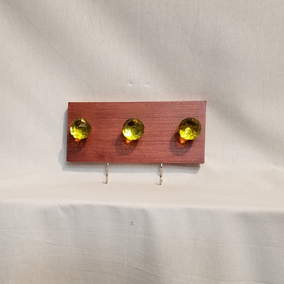 Jewlery Accessory Organizer Rack Hooks Knobs Wood Wall Hanging Kitchen Bathroom Bedroom Home Decor yellow