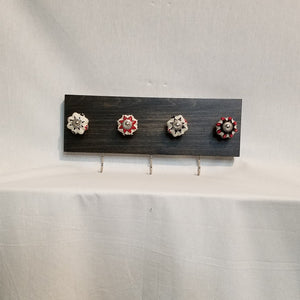 Jewlery Accessory Organizer Rack Hooks Knobs Wood Wall Hanging Kitchen Bathroom Bedroom Home Decor black red white