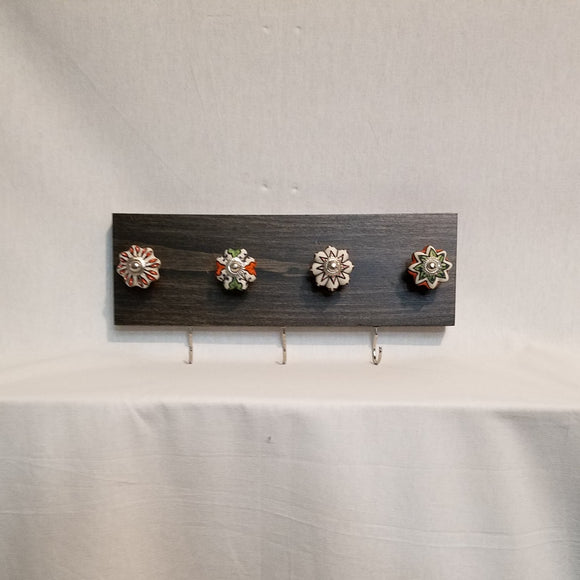 Jewlery Accessory Organizer Rack Hooks Knobs Wood Wall Hanging Kitchen Bathroom Bedroom Home Decor orange green white