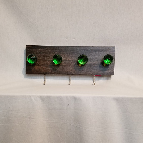 Jewlery Accessory Organizer Rack Hooks Knobs Wood Wall Hanging Kitchen Bathroom Bedroom Home Decor green