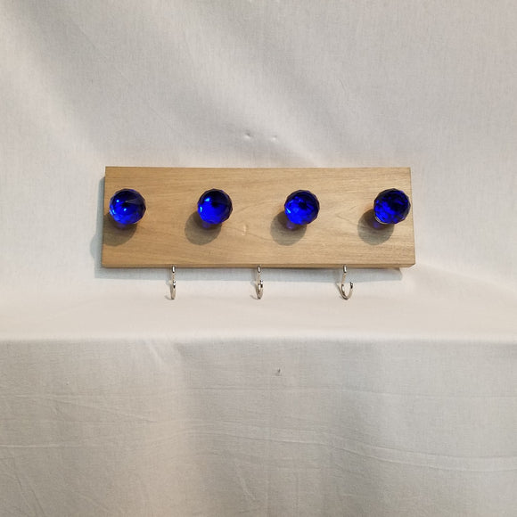 Jewlery Accessory Organizer Rack Hooks Knobs Wood Wall Hanging Kitchen Bathroom Bedroom Home Decor blue