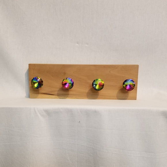 Jewlery Accessory Organizer Rack Hooks Knobs Wood Wall Hanging Kitchen Bathroom Bedroom Home Decor mermaid iridescent