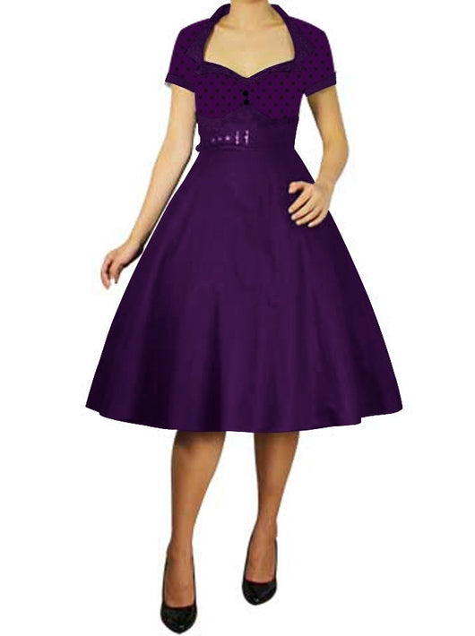 purple polka dot vintage short sleeve 50s retro pinup pin up plus size dress