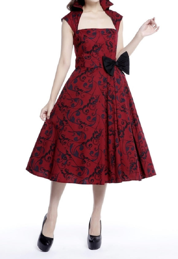 Red black Collared Pinup Pin up Swing 50s retro rockabilly vintage dress plus size