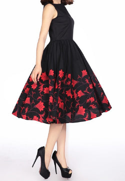 Red Plus Size Floral Swing Full Skirt Dress Retro 50s Pinup