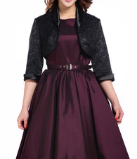 Black Jacquard Crop 3/4 Sleeve Shrug Jacket - great with any sleeveless dress! (Available in size 18 Plus only)
