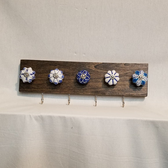 Jewlery Accessory Organizer Rack Hooks Knobs Wood Wall Hanging Kitchen Bathroom Bedroom Home Decor blue white