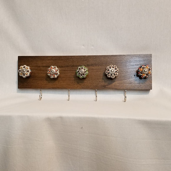 Jewlery Accessory Organizer Rack Hooks Knobs Wood Wall Hanging Kitchen Bathroom Bedroom Home Decor orange green brown