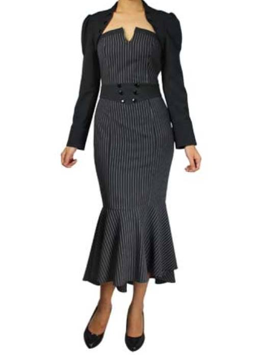 Black Pinstripe Strapless Fishtail Dress with Jacket (Available in size Small only)