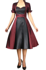 Black Burgundy Full Skirt Swing Dress Anime Cosplay Retro Vintage Classic Plus Size