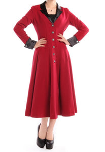Long Red Classic Button Front Lined Coat Vintage Plus Size