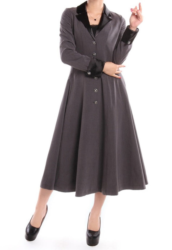 Gray Long Classic Button Front Lined Coat Retro Plus Size