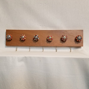 Jewlery Accessory Organizer Rack Hooks Knobs Wood Wall Hanging Kitchen Bathroom Bedroom Home Decor red orange blue white