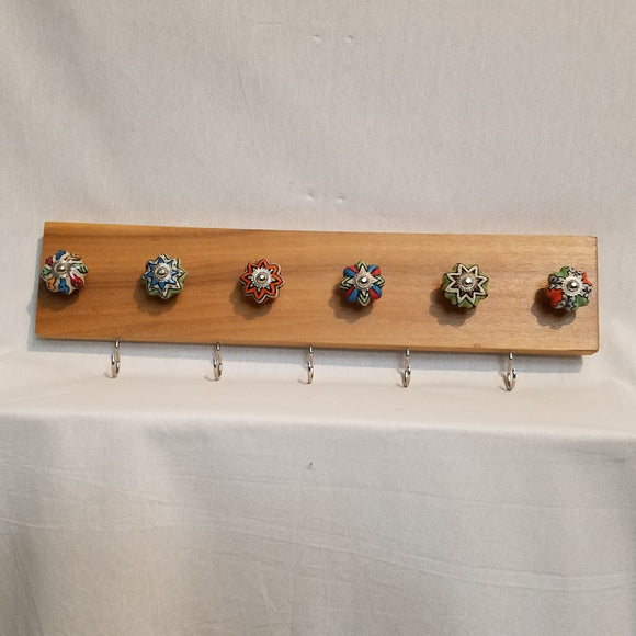 Jewlery Accessory Organizer Rack Hooks Knobs Wood Wall Hanging Kitchen Bathroom Bedroom Home Decor
