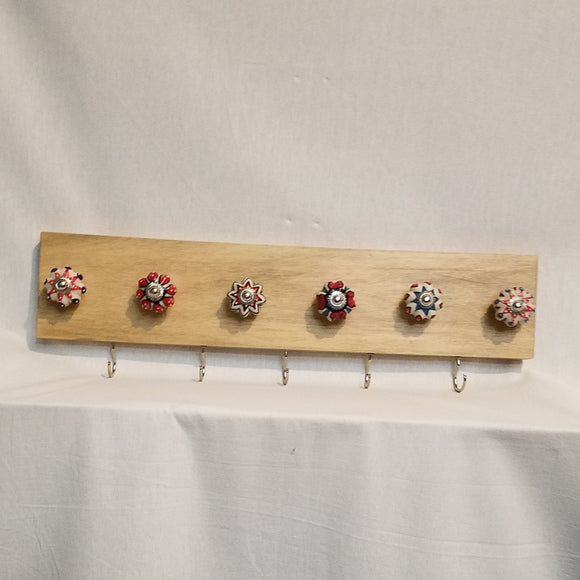 Jewlery Accessory Organizer Rack Hooks Knobs Wood Wall Hanging Kitchen Bathroom Bedroom Home Decor blue red white