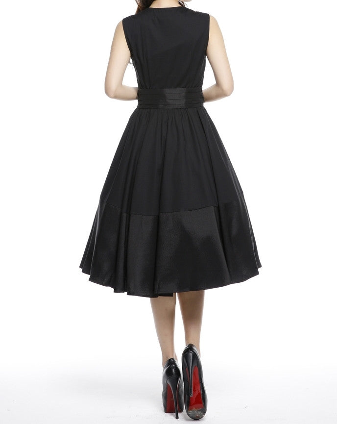 7fc9d11807b ... Black Sleeveless with Removable Cascading Sash Full Skirt Swing Dress ( Available in size 22 Plus ...