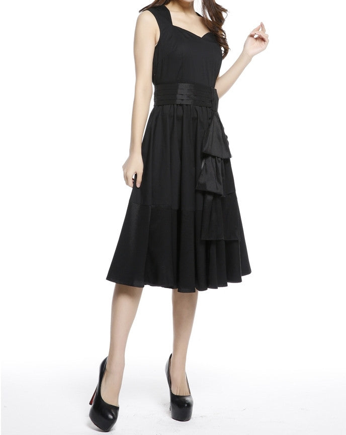 096c5995e14 ... Black Sleeveless with Removable Cascading Sash Full Skirt Swing Dress ( Available in size 22 Plus