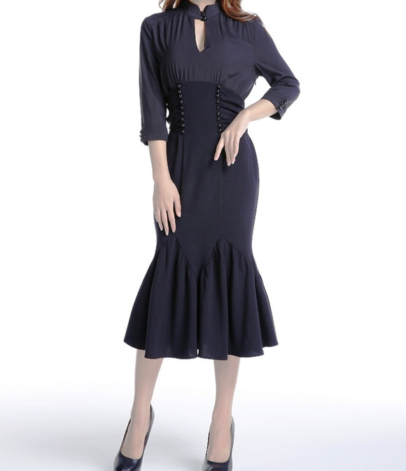 Black Button Accented Waist Fishtail Dress (Available in sizes 16 & 26 Plus)
