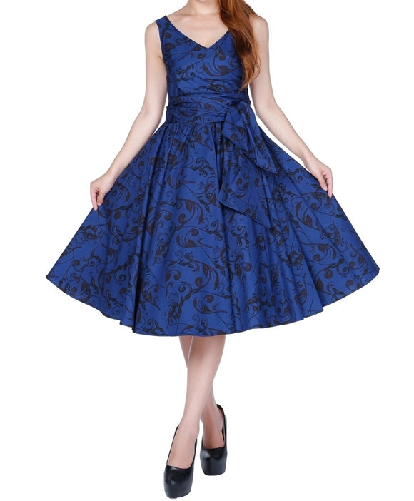 Blue & Black Print Wrap Sleeveless Classic Full Skirt Swing Dress (Available in size 16 only)