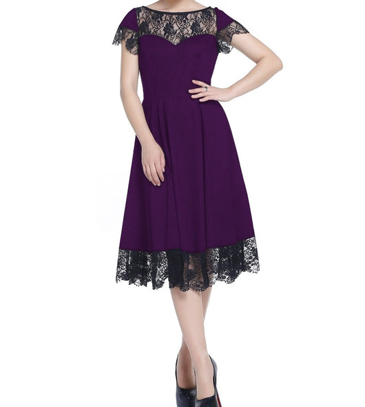 Purple and Black Short Sleeve Lace Full Skirt 1940s Swing Dress (Available in size 22 Plus only)