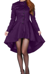 Purple Victorian Hooded Corseted Back Coat