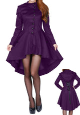 Purple Victorian Hooded Vintage Gothic Steampunk Coat Jacket Corseted Plus Size
