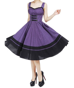 Purple Polka Dot Sun Dress Classic Full Skirt Swing Dress (Available in size 18 Plus only)