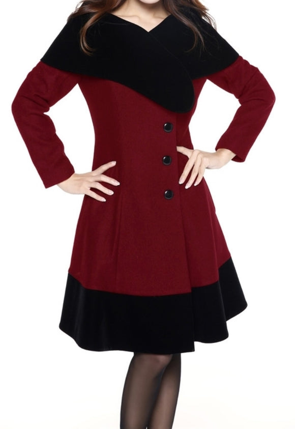 Red Wool Blend Flocked Velvet Vintage Shoulder Wrap Classic Coat Plus Size