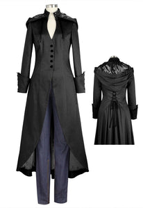 Black V Neck Removable Hooded Corseted Back Coat Steampunk Gothic Plus Size