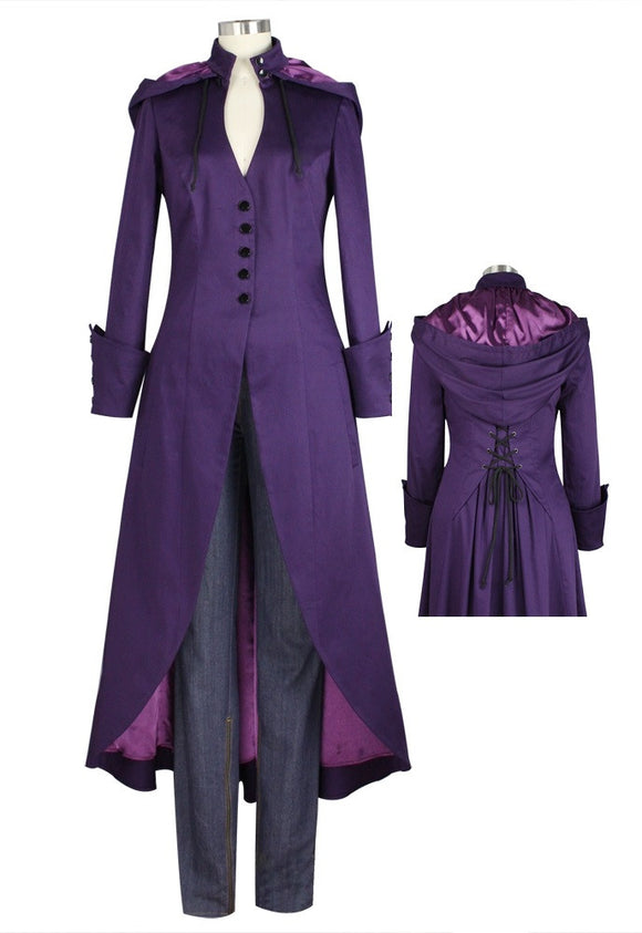 Purple V Neck Removable hood Corseted Back Coat Plus Size Punk Gothic Steampunk