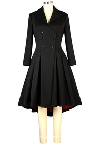 Black Red Lining Double Breasted Button Front Retro Coat Plus Size