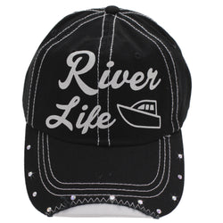 River Life Boating Hat Black Ball Cap Women