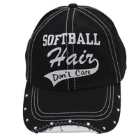 Black Ball Cap Hat Softball Hair Don't Care Women
