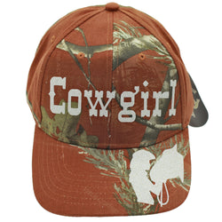 Orange Realtree Cowgirl Ball Cap Horse ballcap camo camouflage