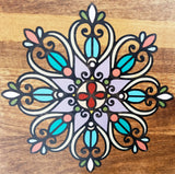 Welcome with Mandalas Handcrafted Walnut Stained Poplar Wood Wall Art Sign - 48""